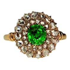 Antique Russian Demantoid and Rose Diamond Target Ring thumbnail 1
