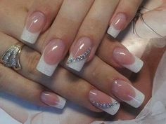 Glitter French with jewel swoop manicure