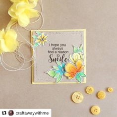 #Repost @craftawaywithme with @repostapp ・・・ Wishing you all a happy sunny Sunday :) A square card using @simonsaysstamp Spring Flowers  Всем солнечного воскресенья!  У нас в Екатеринбурге +20, красота золотая кругом! #simonsaysstamp #papercrafting #cardmaking #handmade
