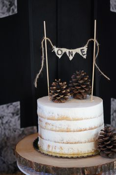 Rustic Woodland First Birthday Party Ideas - Naked Cake www.ladyslittleloves.com