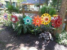 Hubcap Flowers Junkyard Garden