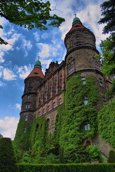 Ksiaz Castle, located on a steep rock by the side of the Pelcznica River, Poland