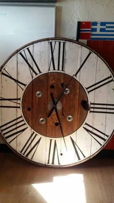 32 or 48 inch Cable Spool Farmhouse Clock / Oversized Shabby Chic Wood Clock /Wall Clock /Rustic Cable Wire Spool Clock. Big Wall Clocks, Rustic Wall Clocks, Wood Clocks, Rustic Walls, Clock Wall, Wire Spool, Wooden Spools, Wooden Spool Projects, Farmhouse Clocks