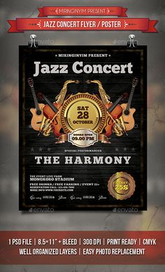 Jazz Concert Flyer / Poster  — PSD Template • Only available here ➝…