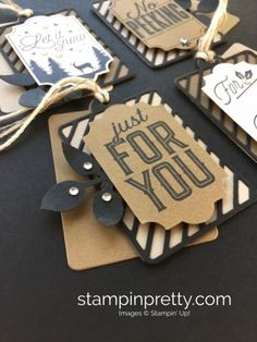 Create simple Christmas holiday gift tags using Stampin' Up! Merry Little Labels - Mary Fish StampinUp Rhinestones Christmas Craft Fair, Christmas Card Crafts, Stampin Up Christmas, Christmas Cards To Make, Xmas Cards, Simple Christmas, Holiday Cards, Christmas Gift Tags, Christmas Holiday