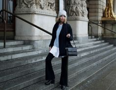 Coat and knit from COS, shirt from Monki, jeans from Crocker/JC, hat from Acne and shoes from &Other Stories