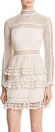 AQUA Lace Tiered Dress