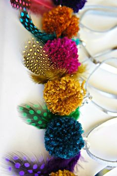 Christmas gift ideas: DIY Pom Pom + Feather Necklaces for Kids.