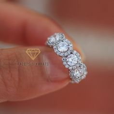 4 25 Carat 18k White Gold Eternity Ring Anniversary Bands Full Women S Rings For Her Man Made Simulated Diamond