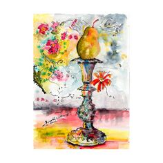 Pear on Candlestick Unusual Still Life Original by GinetteFineArt, $300.00
