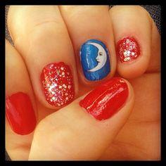 Blue & Red & Glitter Luna #Loteria #nailart via Cha Cha Covers!