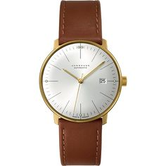 Junghans 027/7700.00 Max Bill stainless steel and leather automatic... ($1,025) ❤ liked on Polyvore featuring men's fashion, men's jewelry, men's watches, mens leather watches, mens leather strap watches and mens stainless steel watches