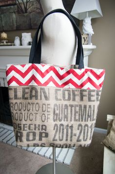 Large Burlap Tote Bag.