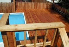 Top View of Wood Deck Amazing Swimming Pools, Swimming Pool Decks, Swimming Pool Designs, Wood Pool Deck, Decking, Above Ground Pool Stairs, In Ground Pools, Outdoor Furniture, Outdoor Decor