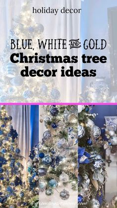 I love this blue, white and gold Christmas tree decor. The garland over the fireplace mantle is beautiful, too.#fromhousetohome #christmastree #christmasdecor #xmas #christmastree #bluechristmasdecor Blue Christmas Decor, Gold Christmas Decorations, Gold Christmas Tree, Beautiful Christmas Trees, Christmas Ornaments, Holiday Decor, Christmas Fireplace Mantels, Gold Color Scheme, White Ornaments