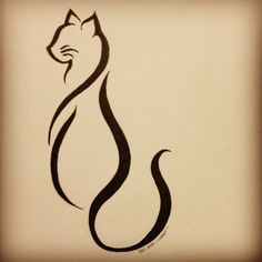 "kallimao: ""Cattoo This is the finalized cat tattoo design for my friend Lindsay K. She decided that she wanted more of an abstract line art style, and this is the end result. I look forward to seeing this design tattooed upon her this weekend! "" More"