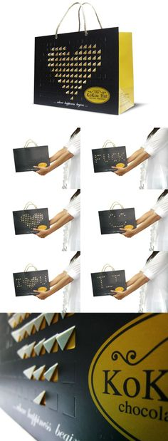 Shopping bag #packaging gets a cool twist by Thailand based Prompt Design. Flip up each of little square boxes and create an image or a letter you like