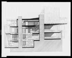 Paul Rudolph's penthouse apartment, 23 Beekman Place, New York City. Cross section. / gorgeous work via @Charlie Loyd