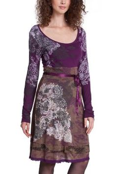 Desigual Women's Celine dress. This long-sleeved dress with a U-shaped neck has a fitted waist and a full skirt. We love the frills on this skirt! Don't you