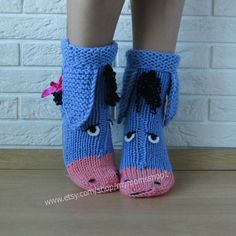 The cutest wool knit socks ever! Eeyore knitted socks , the donkey from Winnie the Pooh! Socks - handmade gift! Perfect to give as a gift.  Very warm and cozy, perfect for cold winters, to run around the house.  We hand knit our socks with 50% wool to make them last longer and still be very warm.   When ordering, please message us asap with your shoe size. SHIPPING: all items are shipped within 1-5 days from Belarus, Eastern Europe  DELIVERY takes: 1-2 weeks to Europe 2-4 weeks to the USA…