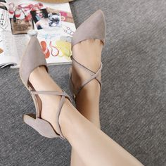 2016 new Korean all match pointed high heeled suede coarse lace up pumps pink grey black-in Women's Pumps from Shoes on Aliexpress.com | Alibaba Group