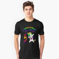 """""""Unicorn, 5 Years Young, Awesome Since 2014,Custom Gift Design"""" Slim Fit T-Shirt by yakoo21 