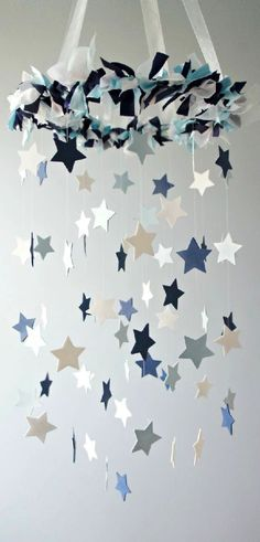 Móvil de estrellas   -   Stars mobile  http://www.luulla.com/product/18157/star-mobile--blue-nursery-mobile-shower-gift-photographer-prop