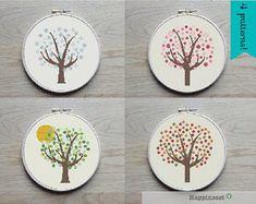 cross stitch pattern tree summer tree PDF pattern par Happinesst
