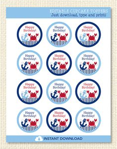 Crab Printable Cupcake Toppers EDITABLE by LittlePrintsParties, $5.00