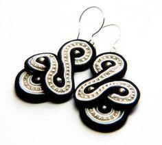 B&W    soutache earrings  free shipping by KimimilaArt