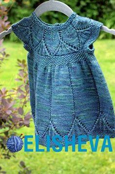 """Сарафан для девочки с узором """"листики"""" вязаный спицами. Схема от 0 до 4 лет   Блог elisheva.ru"""