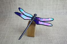 Blue Iridescent Stained Glass Dragonfly on Wood Base, Glass Art
