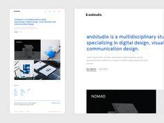 &andstudio homepage by Pijus Aleksandravičius on Dribbble Homepage Design, Ux Design, Graphic Design, Ui Portfolio, Ui Elements, Communication Design, Screen Design, Ui Kit, Design Development
