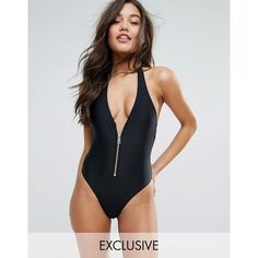 South Beach Plunge Zip Black Swimsuit ($37) ❤ liked on Polyvore featuring swimwear, one-piece swimsuits, red, swim cover up, bikini one piece swimsuit, red bikini and bathing suit cover up