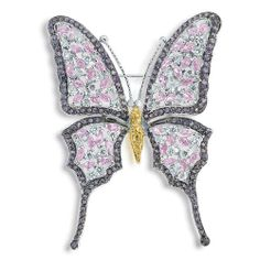Pink CZ Diamond Amethyst CZ Garden Butterfly Brooch Pin