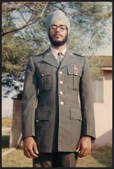Baldev Singh, the first post WW II Kesadhari (with unshorn hair) Sikh to serve in the US Military. He was drafted during the Vietnam War and his father Jarnail Singh Purewal was instrumental in changing the law so that Sikhs did not have to cut their hair if they were drafted.