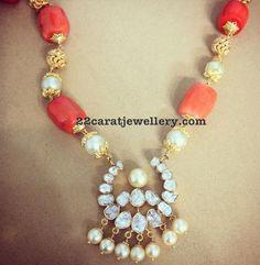 Coral Beads Set with Diamond Pendant - Jewellery Designs