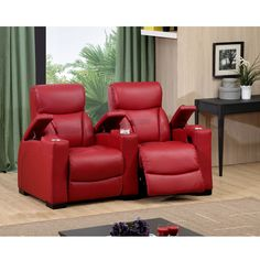 Leather Sectional Sofa Bristol Two Seat Red Top Grain Leather Recliner Home Theater Seating Set