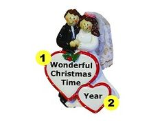 Personalized 1st Married Christmas Wedding Ornament - Both Brown Hair