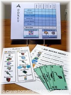 Chore Charts and Kid Bucks reward system!  :)