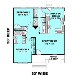 Cottage Style House Plan - 2 Beds 2 Baths 1073 Sq/Ft Plan Main Floor Plan - changes: More Great room onto existing porch & new front porch across entire front The Plan, How To Plan, Plan Plan, Small House Floor Plans, Cabin Floor Plans, Small House Plans Under 1000 Sq Ft, Small Cabin Plans, Cottage Style House Plans, Cottage Plan