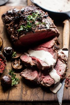 "greatfoods: "" Roasted Beef Tenderloin with Mushrooms and White Wine Cream Sauce """