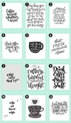 180+ Coffee Free Printables: handlettering inspiration