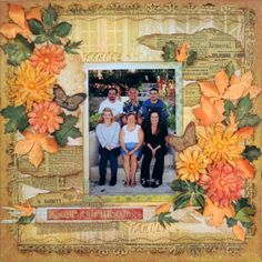 Lisa Gregory designed this beautiful layout using the Autumn Song collection. Love all floral clusters. #BoBunny, @Lisa Nazario-Gregory