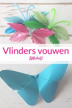 Vlinders vouwen. knutselen met kinderen BMelloW Diy And Crafts Sewing, Crafts To Sell, Arts And Crafts, Diy Crafts, Crafts For Teens, Diy For Kids, Diy Butterfly, Origami Art, Creative Kids