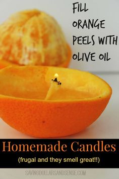 Simple Homemade Candles using Orange Peels and Olive Oil!!  What a neat way to use Orange Peels.  There are 9 other fun ways to use them in the post as well!!