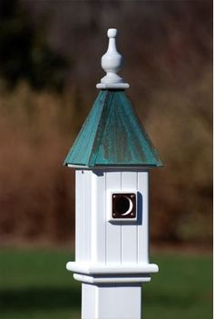 Bluebirds will be scouting for houses sooner than you think ~ Copper Roof/Vinyl Birdhouse lasts a lifetime!