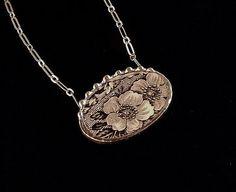 Black floral toile English transferware broken plate broken china jewelry necklace