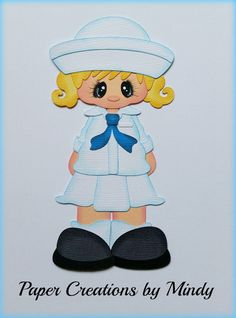 Military Navy Girl premade paper piecing scrapbooking page album border