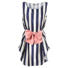 black and white stripe dress with large contrast colour bow